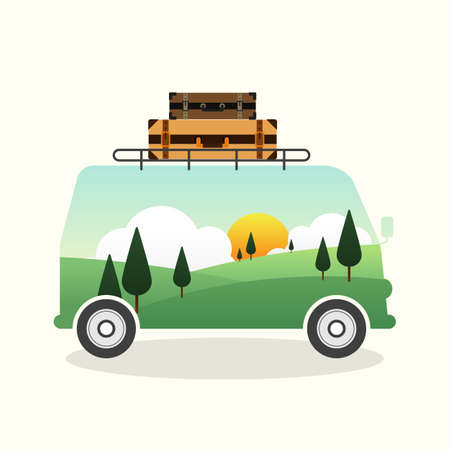 Double exposure of a van and mountain landscape, travel concept flat design vector illustration Illustration