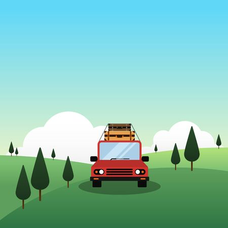 A car with luggage on top drive through mountain landscape, travel concept flat design vector illustration