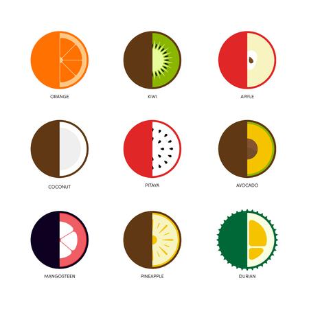 Fruit icon set flat design cut in half isolated on white background, vector illustration Illustration