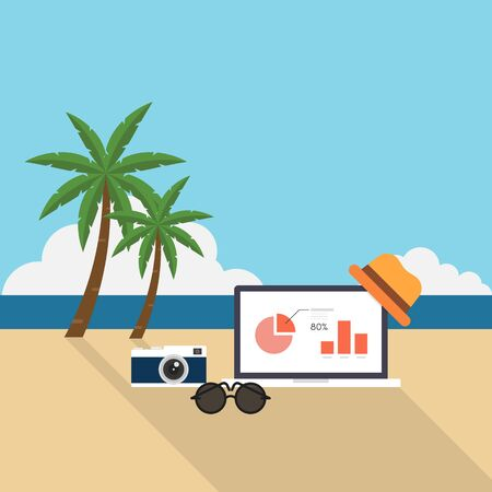 vacation with laptop: Laptop, camera, sunglasses, hat, lay on the beach, remote working concept flat design, vector illustration