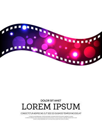 Abstract movie and film bokeh poster isolated on white background. Graphic design element template can be used of backdrop, brochure, leaflet, vector illustration. Stock Illustratie