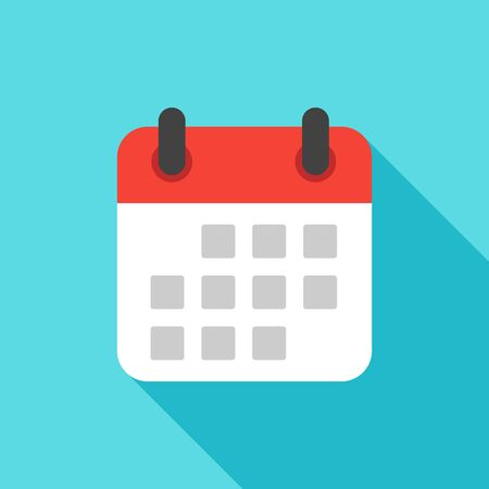 event planning: Calendar icon flat design isolated with long shadow, vector  illustration