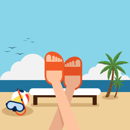destination: Happy holiday on the beach flat design concept, vector illustration