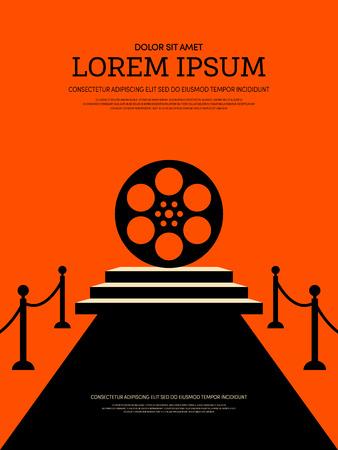Sfondo di poster retrò vintage moderno film e film. Modello di elemento di design grafico può essere utilizzato di sfondo, brochure, depliant, illustrazione vettoriale Archivio Fotografico - 82659346