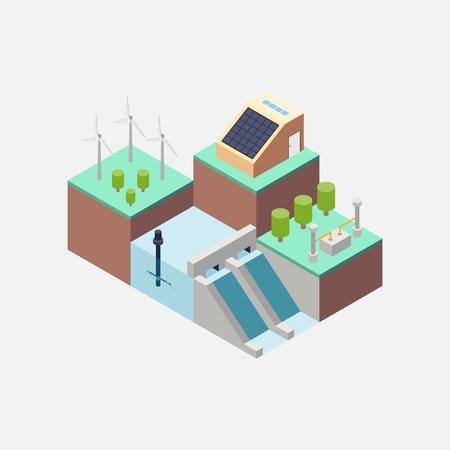 Hernieuwbare energie concept plat ontwerp, vector illustratie