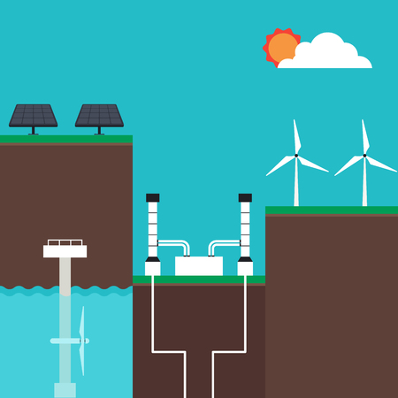 Hernieuwbare energie concept infographics plat ontwerp, vector illustratie