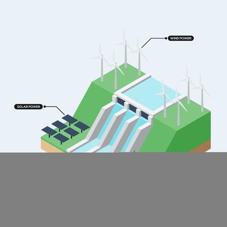 再生可能エネルギーの概念インフォ グラフィック フラット デザイン、ベクトル イラスト