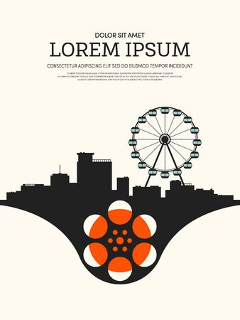 film industry: Movie and film modern retro vintage poster background, design element template can be used of backdrop, brochure, leaflet, vector illustration