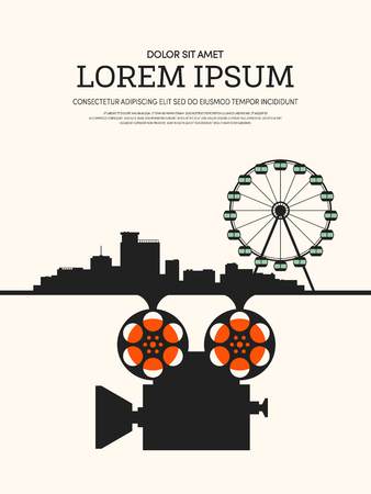 Movie and film modern retro vintage poster background, design element template can be used of backdrop, brochure, leaflet, vector illustration