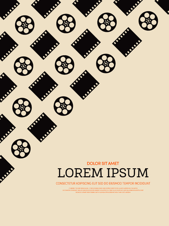 film industry: Movie and film retro vintage style. Graphic element template can be used for poster, background,  printing, backdrop, vector illustration Illustration