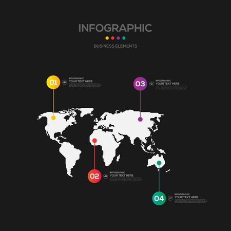 numbers abstract: Infographics business marketing report template layout design, world map background, can be used for workflow, layout, diagram, vector illustration Illustration