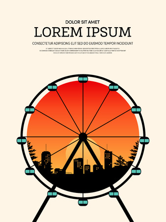 Vintage retro poster background with Ferris wheel and cityscape. Design element template can be used for backdrop, brochure, leaflet, vector illustration Illustration