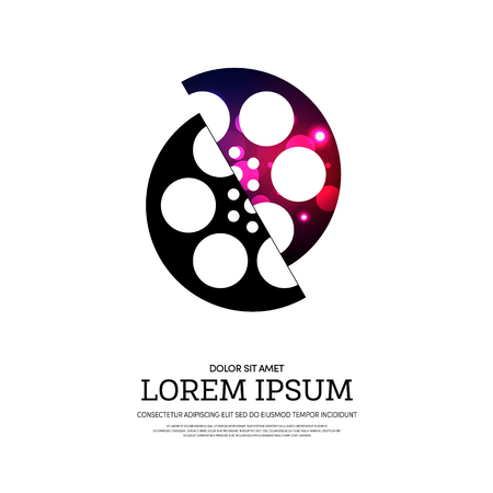 camera film: Abstract movie and film bokeh poster isolated on white background, vector illustration