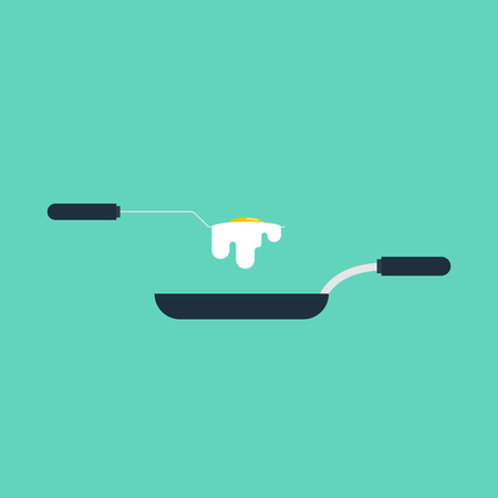 Cooking concept with fried egg flat design with pan and flipper used for frying, vector illustration