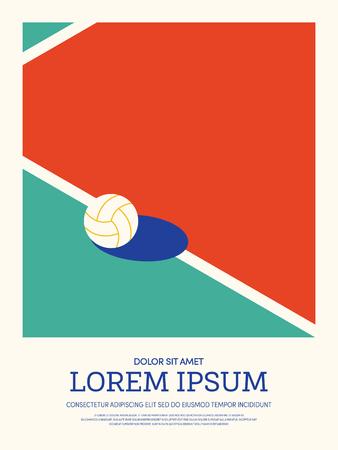배구 추상 스포츠 빈티지 복고 스타일 포스터 배경. 디자인 요소 템플릿을 배경, 브로셔, 전단지, 벡터 일러스트 레이 션을 사용할 수 있습니다