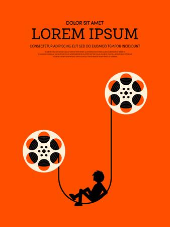 Movie and film modern retro vintage poster background. Design element template can be used of backdrop, brochure, leaflet, vector illustration Stock Illustratie