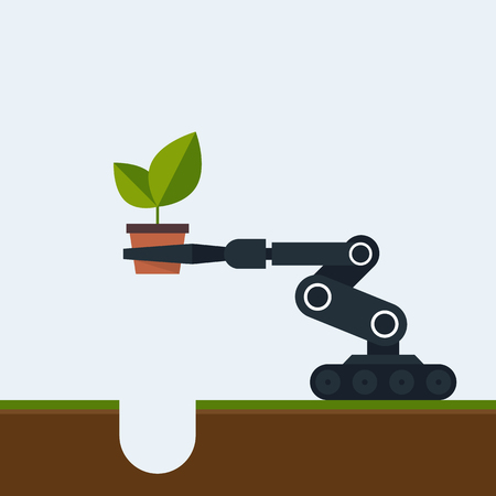 Planting tree in the future concept by a robot flat design, vector illustration
