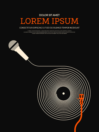 Achtergrond van de muziek retro uitstekende affiche. Ontwerp element sjabloon kan worden gebruikt voor achtergrond, brochure, leaflet, vector illustratie Stock Illustratie