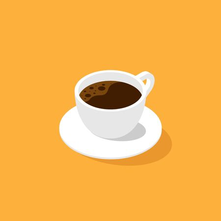 A cup of coffee isometric flat design isolated, vector illustration.