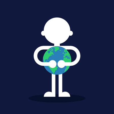 A man hugging the earth flat design, save the world concept, vector illustration.