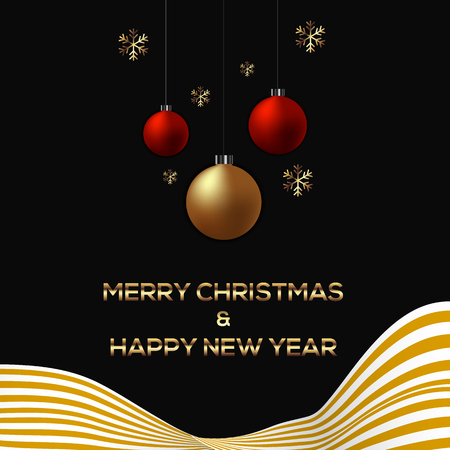 Happy New Year 2018 greeting card background decorative with glittery Christmas ball and golden ribbon. Illustration
