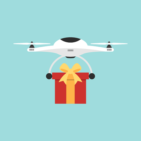Delivery drone flying shipping a present flat design, vector illustration