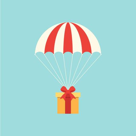 Concepto de entrega con diseño plano de paracaídas.
