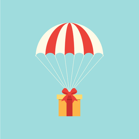 Delivery concept with parachute flat design.