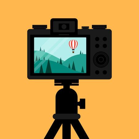 Scattare foto di scena di paesaggio naturale attraverso design piatto fotocamera digitale, illustrazione vettoriale Vettoriali