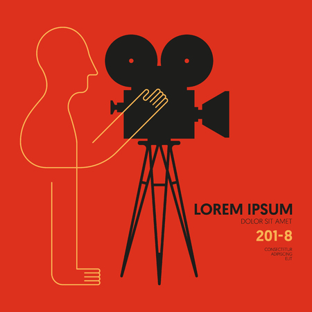 Movie and film modern retro vintage poster background with man on video camera, design element template can be used of backdrop, brochure, leaflet, publication, vector illustration