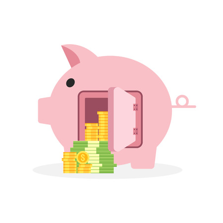 Saving money business concept, piggy bank flat design icon with coin and banknote, vector illustration