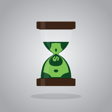 Time is money concept, banknote is sandglass, vector illustration