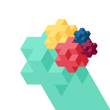 Abstract geometric isometric background, vector illustration Illustration