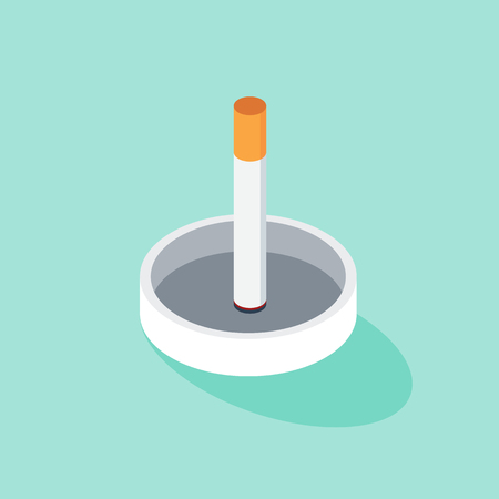 No smoking and world no tobacco day poster template background, vector illustration with a cigarette stick and an ash tray icon. Stock Illustratie