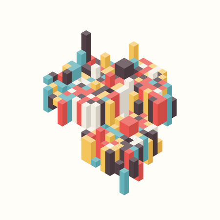 Abstract colorful isometric background decorative with geometric shapes, vector illustration