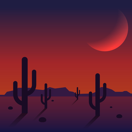 Desert landscape sunset with mountain range and cactus background, vector illustration