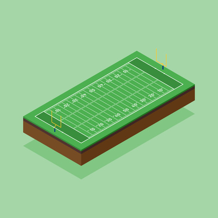 American football field isometric flat design, vector illustration