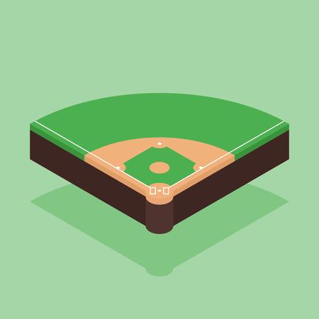 Baseball field isometric flat design, vector illustration