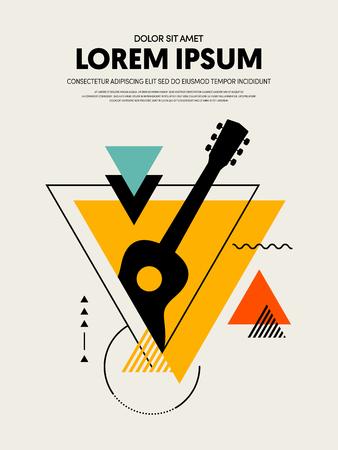 Music festival poster design template modern vintage retro style. Can be used for background, backdrop, banner, brochure, leaflet, publication, vector illustration