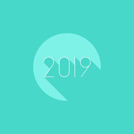 2019 Calendar icon minimal modern flat design style with long shadow, vector illustration