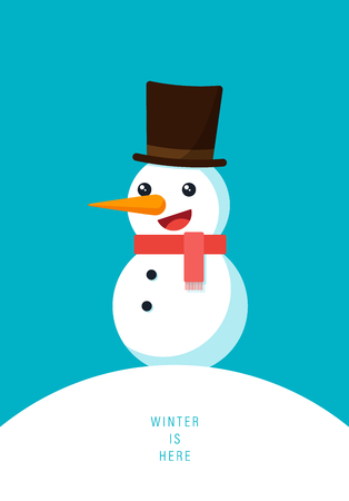 Winter vibe concept, Christmas and new year poster background with smiling snowman wearing hat on top of white snow mountain view, vector illustration