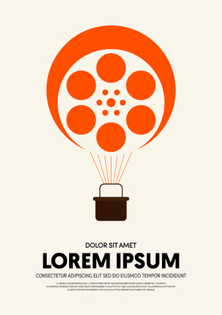 Movie and film poster design template background modern vintage retro style. Can be used for backdrop, banner, brochure, leaflet, flyer, advertisement, publication, vector illustration