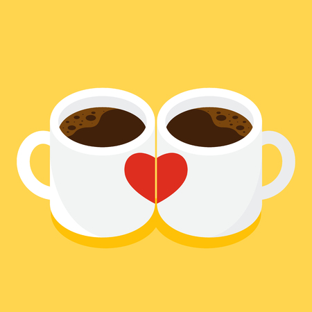 A couple heart cup of coffee Valentine's day concept flat design. Design element can be used for background, poster, greeting card, brochure, leaflet, flyer, print, backdrop, vector illustration