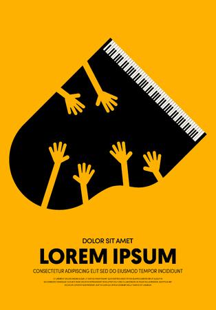 Music poster design template background modern vintage retro style. Can be used for backdrop, banner, brochure, leaflet, flyer, advertisement, publication, vector illustration Banque d'images - 124993752