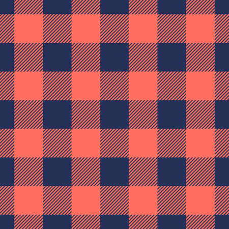 Living Coral and Blue Depths lumberjack plaid seamless pattern background vintage retro style. Design element can be used for texture, textile, backdrop, vector illustration