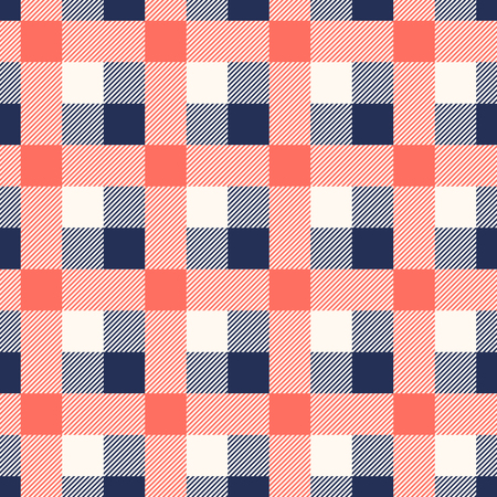 Living Coral and Blue Depths lumberjack plaid seamless pattern background vintage retro style. Design element can be used for texture, textile, backdrop, vector illustration Ilustracje wektorowe