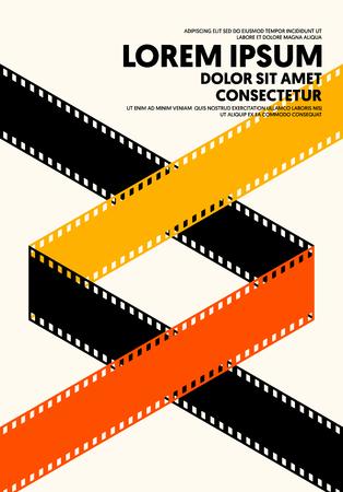 Affiche de film et de film de style rétro vintage moderne. Le modèle de conception graphique peut être utilisé pour l'arrière-plan, la toile de fond, la bannière, la brochure, le dépliant, le dépliant, l'impression, la publication, l'illustration vectorielle Vecteurs