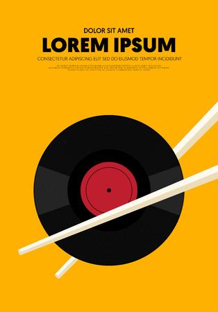 Music poster modern vintage retro style. Graphic design template can be used for background, backdrop, banner, brochure, leaflet, flyer, print, publication, vector illustration