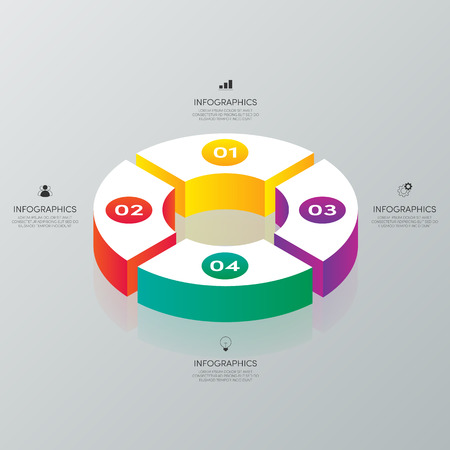 Business infographic isometric style design element template with 4 options. Graphic design element template can be used for presentation, workflow, diagram, chart, option, vector illustration