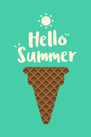 Summer time and happy holiday poster template background, decorative with ice cream cone, vector illustration 일러스트